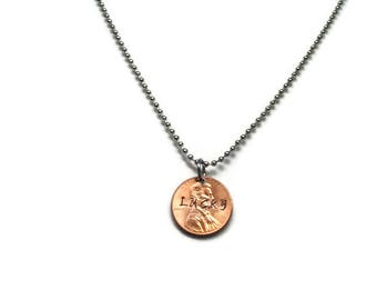 Lucky Penny Necklace; Lucky Necklace; Hand Stamped Penny Necklace; Money Necklace; Penny Necklace; Coin Necklace