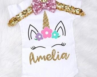 Baby Girl's Unicorn Onesie, Toddler Unicorn Shirt, Personalized Unicorn Onesie, Unicorn Birthday Outfit, Unicorn 1st Birthday Shirt