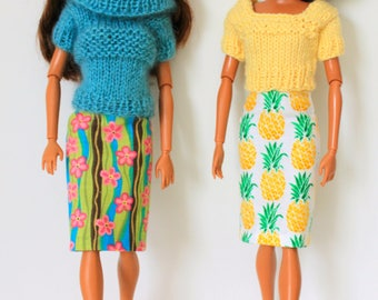 Barbie's Pencil Skirts coordinate with Hand Knit Sweaters - Choose from 3 exciting options!