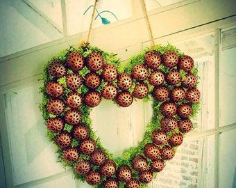 Copper heart, OOAK, alternative Christmas wreath, CHRISTMAS HEART decoration, Front door decoration, Moroccan style copper heart