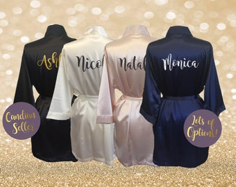 Personalized Satin Robe Monogrammed Robes Initials Birthday Gift Anniversary Gift Coming Home From Hospital New Mom Honeymoon Bride Gift