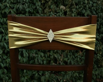 Sparkle Gold and Crystal Stretch Chair Bands~Wedding~Party