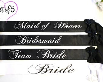 Bridesmaid sashes Plus Size Bachelorette Sashes Set of 5 Sashes, Sash, Wedding Sash, Bachelorette Sash, Bridesmaid Sash, Bride Sash