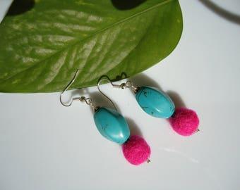 earrings, turquoise rings, earrings, earrings, earrings, earrings, earrings blue Fuchsia felt hard stone, girl earrings