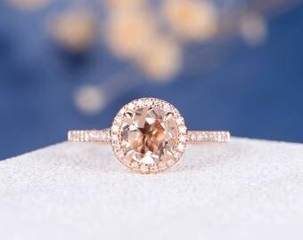 Morganite Ring Rose Gold Engagement Ring Halo Wedding Bridal Women Eternity Diamond Multistone Anniversary Promise Birthday Gift Engraving