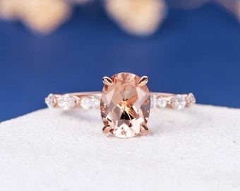 Morganite Engagement Ring Rose Gold Marquise Moisasnite Ring Oval Cut Bridal Wedding Ring Promise Women Multistone Anniversary Gift for Her