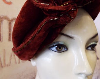 Rich Burnt Terracotta Silk Velvet 1930s Turban Hat
