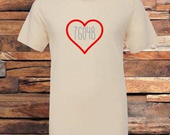 Zip Code TShirt, Heart with Zip Code Tee,  My Zip Code TShirts