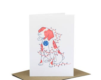 Dog Wrapped in Christmas Lights - Christmas Card - Letterpress Greeting Card