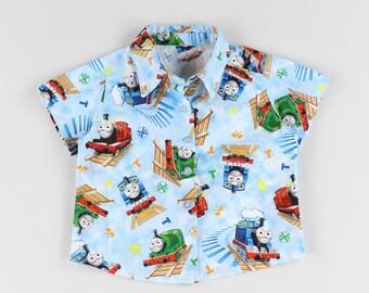 Custom sky blue cloud Thomas the Tank Engine Boys Shirt, Thomas and Friends cotton button down shirt, Toddler train themed birthday party