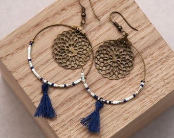 Earring Marguerite (blue)
