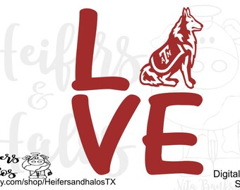 Love Aggies with Reveille svg, cut file, png, dxf, eps, pdf CUT FILE ONLY for cricut, silhouette, and other cutting machines. Use for decals