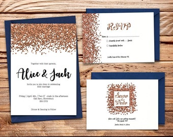 copper glitter Printable Wedding Invitation Set