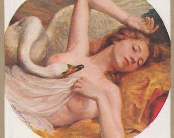Leda and the Swan | Greek Mythology | 1900's Risque French Art Postcard | Portrayal of Classical Seduction | Lapina | Color Nude Painting |