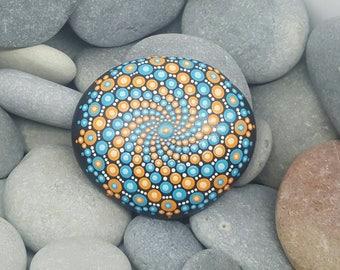Orange & Blue Painted Rock - Mandala Stone - Hand-painted Meditation Mandala Stone - Geometry - Mandala Art - Painted Stone - Paperweight