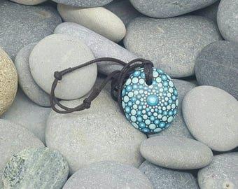 Unique Turquoise Mandala Stone Necklace - Paint Rock - Mandala Rock - Dot Art - Mandala Art - Hand-Painted Pendant Stone - Chakra