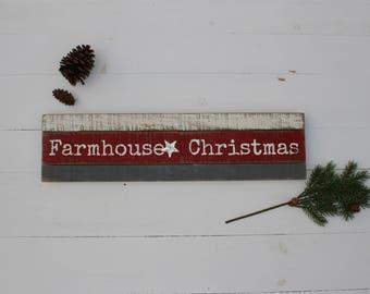 Farmhouse Christmas Wood and Metal Sign
