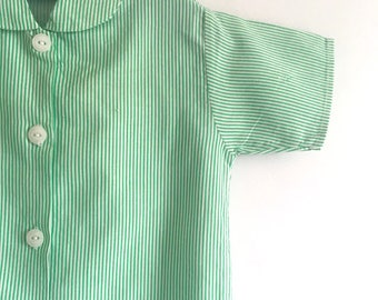 Patti Shirt Green : Vintage 1970s children's striped peter pan collar shirt