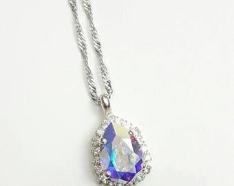 Bridal crystal pendant, Swarovski crystal pendant Bridal necklace, wedding crystal necklace Crystal jewelry, Drop Bridal tear drop necklace