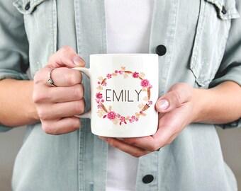 Personalized Name Mug, Custom Name Mug, Floral Name Mug, Custom Monogram Gift, Watercolor Floral Mug Personalized Gift, Custom Birthday Gift