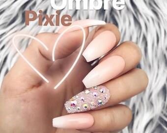 Acrylic Pink White Ombre Pixi Swarovski Press On Nails | Any Shape | Fake Nails | False Nails | Glue On Nailes | The Nailest
