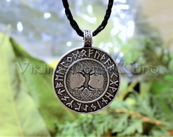 Viking  Runes Yggdrasil Necklace, Tree of Life Silver Pendant, Engraved Runes Necklace, Viking Jewelry, Celtic World Tree, Elder Futhark