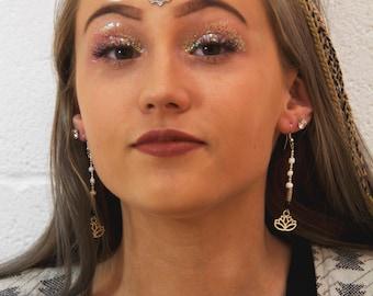Black & White Lotus Earrings