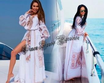 Ethnic Dress Vyshyvanka White Linen Embroidered Dress Ukraine Mexican Dress Bohemian White Linen Dress Boho Chic Kaftan Abaya 100% Linen DK