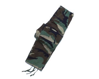 U.S.ARMY BDU Woodland Camouflage Trousers / Camo Pants Military Streetwear Hip Hop Rap X-SMALL Up To 27IN For Women High Waisted
