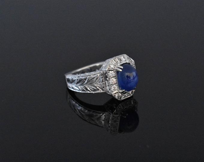 18K White Gold Star Sapphire ring