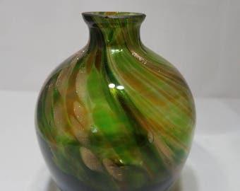 Czech Art Green Glass Vase Aventurine Sparkle