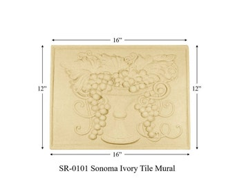 SR-0101 SONOMA Tile Mural, Ivory, Kitchen Backsplash Mural, decorative tiles for kitchen backsplash,
