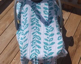 Muslin Cotton Car Seat Cover, Car Seat Canopy, Lightweight Material, Double Gauze, Teal vines print