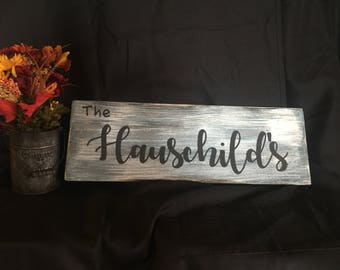 Family name sign, customized wood sign