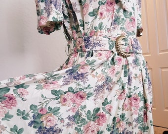 Vintage SL Fashions 80s Floral Dress with Belt