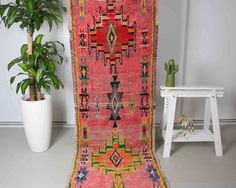 Hand Made Moroccan 100% Wool Faded Pink 1970's Vintage Boujad Rug - RUG010