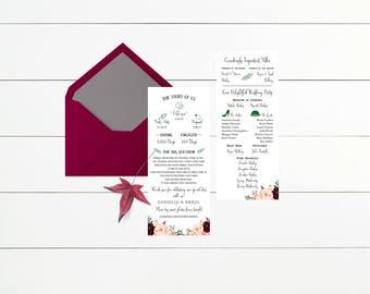 Wedding Program Template, Printable Ceremony, Printable Wedding Programs, Floral Wedding Program #MF001