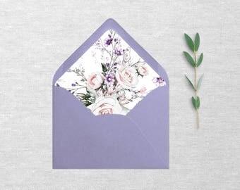 Ultra Violet A7 envelope liner Template, Floral, Envelope Liners, Printable Liner, Instant Download, Diy Wedding, Watercolor