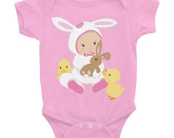 Baby Girl 'Easter Bunny with Chicks' One Piece Undershirt/Infant Bodysuit