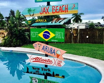 Destination Signs with patio stand, Destination pole, Vacation spots, Patio signs, Cruise ports, Custom mileage sign, mile marker sign