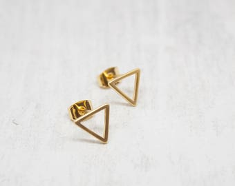 Small earrings yellow gold triangle satin 10 mm