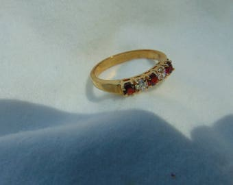 Gem Stone Ring, 10 to 14K Gold, Size 8, Shipped Free