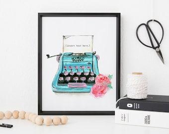 Custom Quote Art Print, Vintage Typewriter, Custom Typography Quote, Gifts for Writers, Vintage Typewriter Art Print, Typewriter Wall Art
