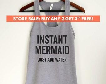 Instant Mermaid Just Add Water Tank Top, Ladies Workout Tank Top, Beach Tank Top, Yoga Tank, Mermaid Shirt, Mermaid Tank Top, Mermaid Life