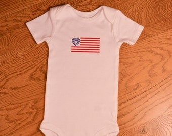 Hmong Baby Bodysuit - American Flag with One Heart