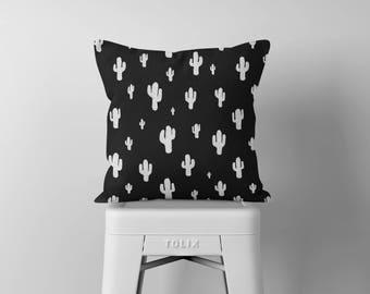 Cactus Throw Pillow, Black and White Pillow, Decorative Pillows, Outdoor Pillow, Square Pillow, Pillows, Throw Pillows, Accent Pillow