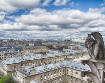 View of Paris from Notre Dame Cathedral as Gargoyle Watches over the City