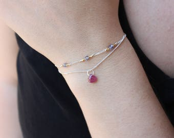 Ruby Bracelet -Sterling Silver Ruby Bracelet -Multi Strand Bracelet-Genuine Ruby-Very Delicate Bracelet-Dainty Jewelry Beaded Bracelet