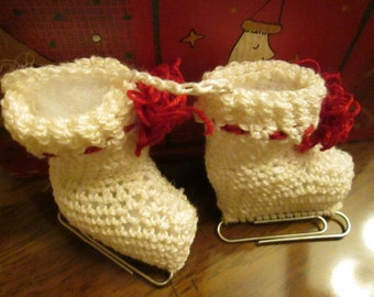 """ICE SKATES, CHRISTMAS Ornament,  Handmade,3  Kinds to choose from.   Size 3X2X1"""" One of a kind"""