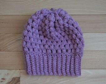 crochet puff stitch hat x PIN CURL BEANIE x in lavender